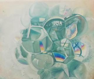 Seifenblasen, 2019, Öl auf Leinwand, 50x60 cm