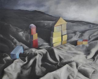 Klötze , 2021, Öl auf Leinwand, 100 x 120 cm