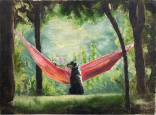 Tim Nowak, untitled, 2021, oil on linen paper, 45 x 65cm